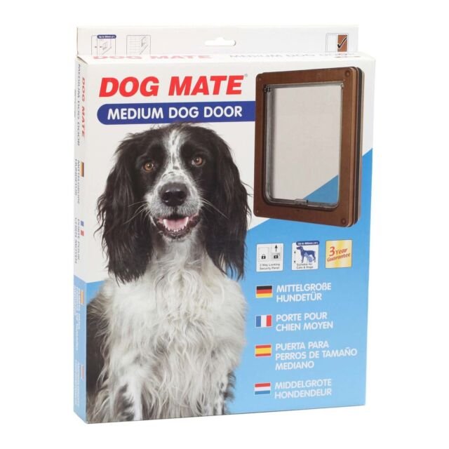 Dog Mate Medium Pet Door Flap Brown Suitable For Cats Dogs