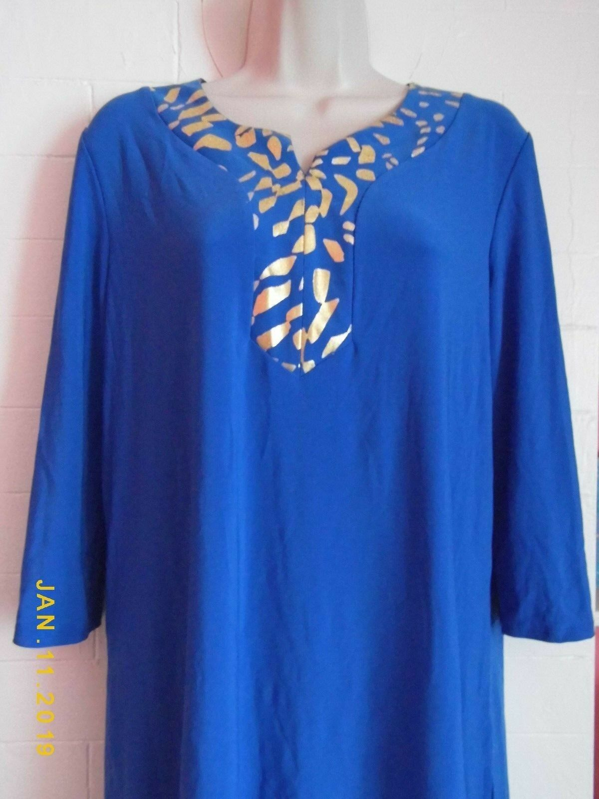 SCS STUDIO ROYAL blueE AND gold PANT AND TUNIC TOP SET, SIZE LARGE, NWT