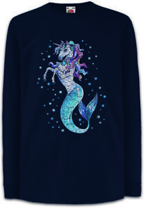Unimaid-I-Kinder-Langarm-T-Shirt-Mermaid-Unicorn-Fun-Rainbow-Fairies-Princess
