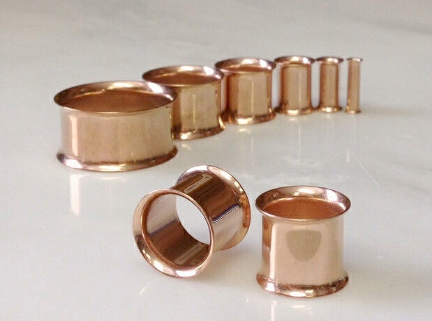 PAIR Rose Gold Plated Steel Double Flare Tunnels Ear Plugs Earlets Gauges