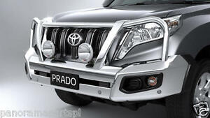 Details about Toyota Prado Polished Alloy Bullbar VX Kakadu with parking  Sensors GENUINE NEW