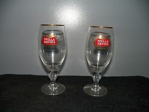 2-NEW-STELLA-ARTOIS-BELGIUM-BEER-GLASSES-GOLD-RIMMED-CHALICES-40-CL