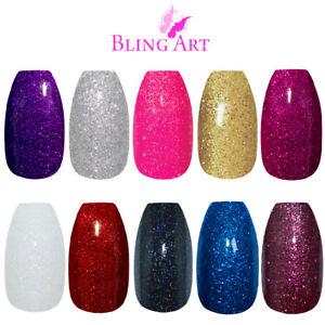 Bling-Art-Coffin-False-Nails-Black-Red-Pink-Purple-Gold-Gel-Fake-Medium-Tip-Glue