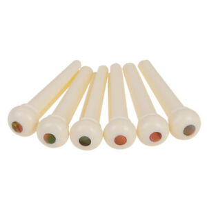 6Pcs-Acoustic-Guitar-Strings-BRIDGE-PINS-fin-PINS-Creme-Plastique