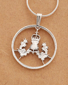 Sterling Silver British Coin Pendant Great Britain Coin Jewelry # 130S