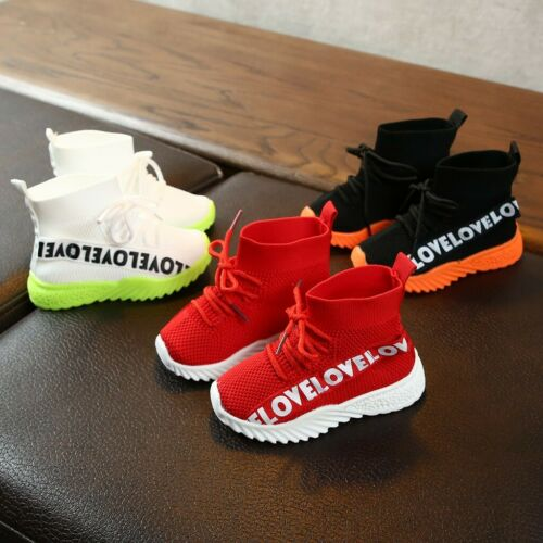 Toddler Children Kid Baby Girl Boy Letter Stretch Run Sneakers Sport Shoes Boots