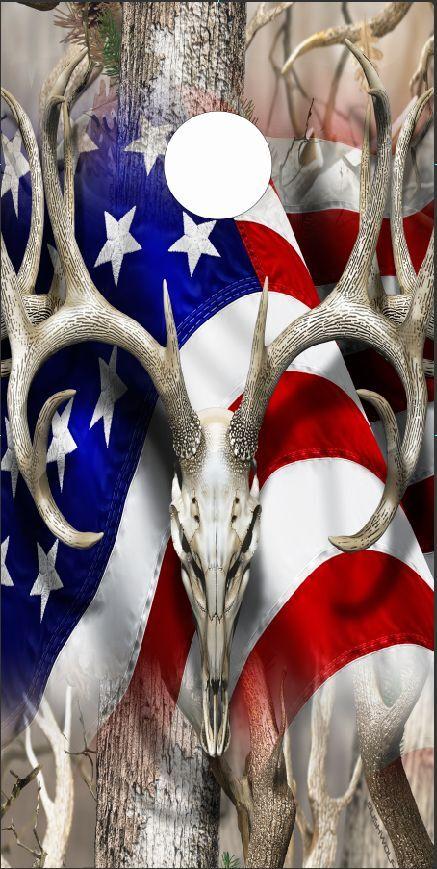 American Deer Oblit Camo LAMINATED Cornhole Wrap Bag Toss Skin Decal