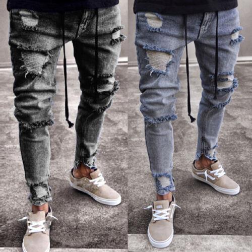 Men Stretchy Jeans Ripped Skinny Biker Jeans Destroyed Slim Denim Pants Trousers