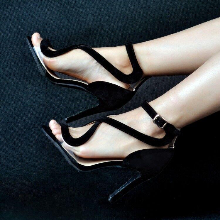 Women Cut Out Stilettos High Heel Sandals Ankle Strap Stilettos Plus Size 4-12