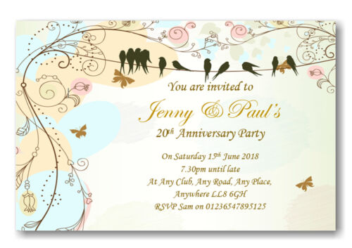 20 Beautiful Personalised Wedding Anniversary Invitations ~ Invites Ref A8