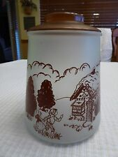 """Vintage Hansell & Gretel Frosted Glass Cookie Jar signed Pokee 8 1/2"""""""