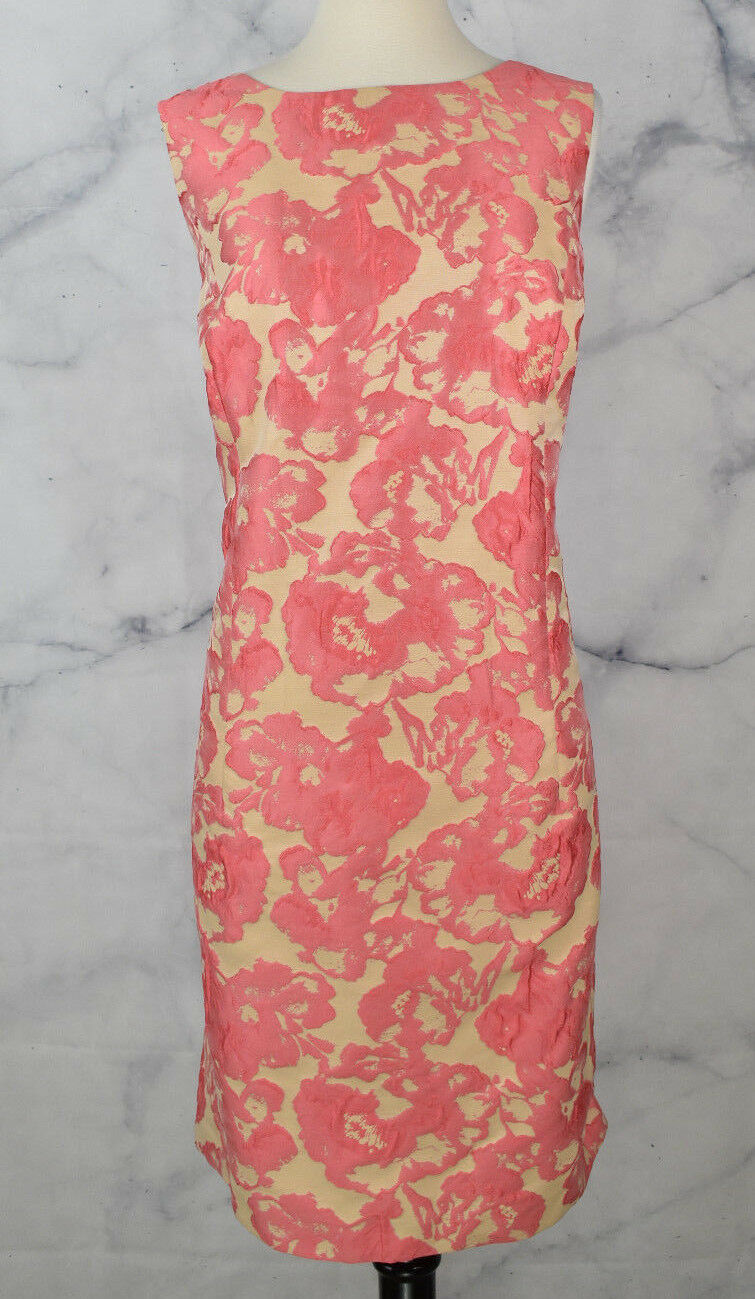 Lafayette 148 Jacquard Bold Floral Sleeveless Shift Dress Coral Pink Nude SZ 12