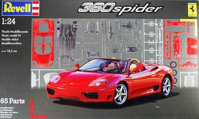 KIT REVELL 1 24 AUTO DA MONTARE FERRARI 360 SPIDER 18,5 CM, 65 PEZZI   07085