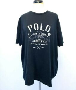 Ralph Lauren Polo T Shirt  Black New York Eagle Mens Graphic Tee Sz L