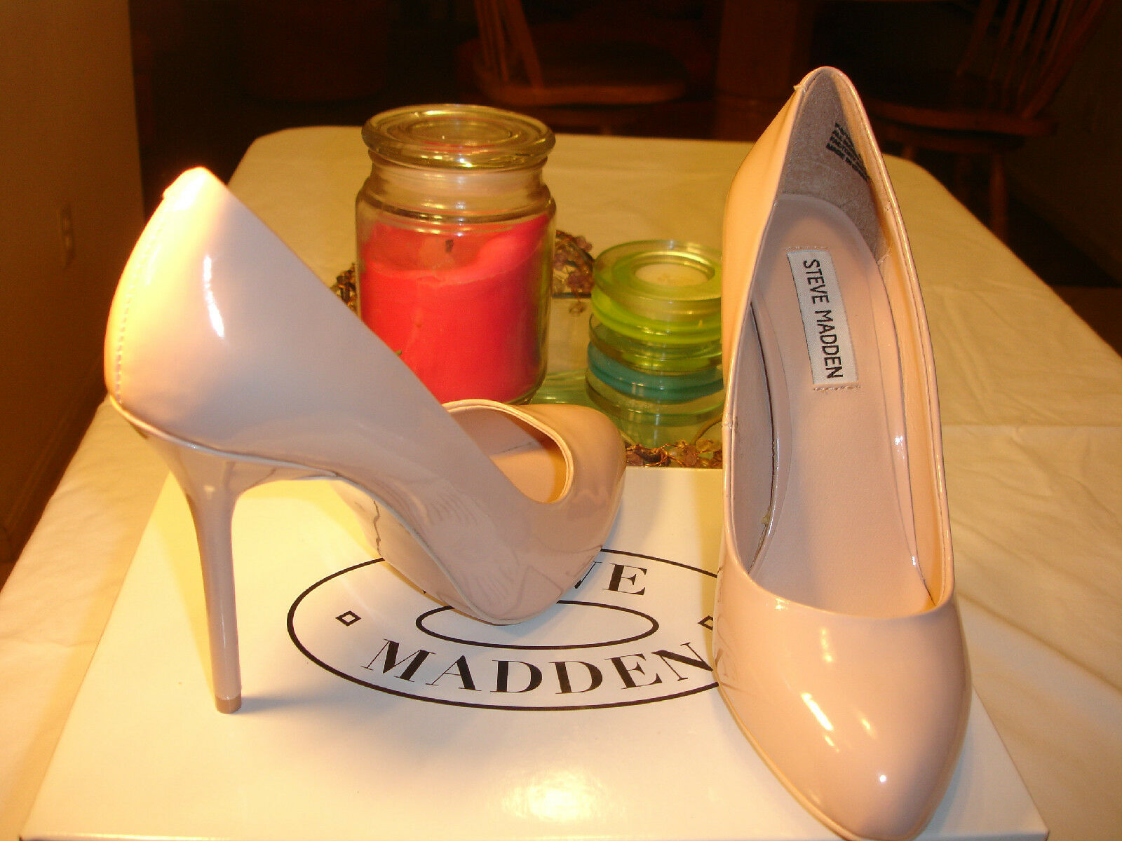 Steve Madden Saige Taupe Patent Heel Stiletto sexy   99   7.5 8 9.5 10 6319a7