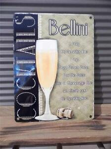 beautiful vintage art deco style metal wall plaque sign bellini cocktail fab ebay. Black Bedroom Furniture Sets. Home Design Ideas
