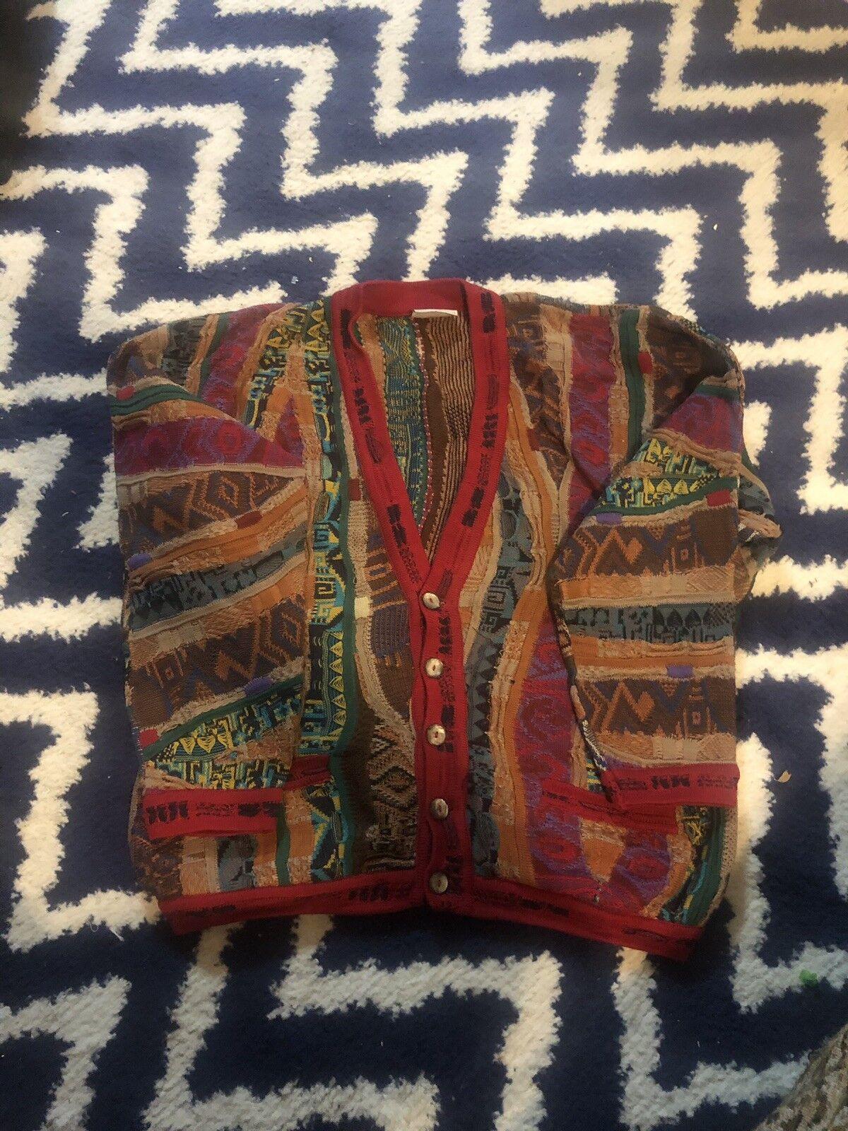Coogi Sweater Vintage 90's Neon colorful Teal Vibrant Biggie