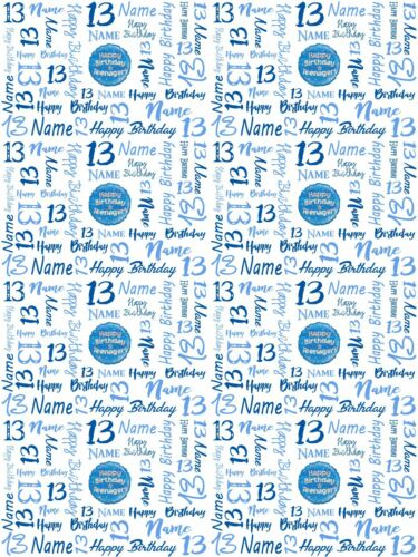 13th Teenager Birthday Personalised Gift Wrapping Paper Choose Colour ADD A NAME