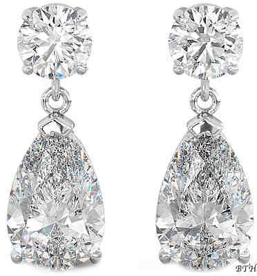 925 Sterling Silver Ladies Luxury Wedding Bridal Tear Drop / Dangle Earrings Duftendes Aroma