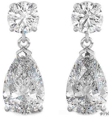 925 Sterling Silver Ladies Luxury Wedding Bridal Tear Drop / Dangle Earrings Duftendes Aroma