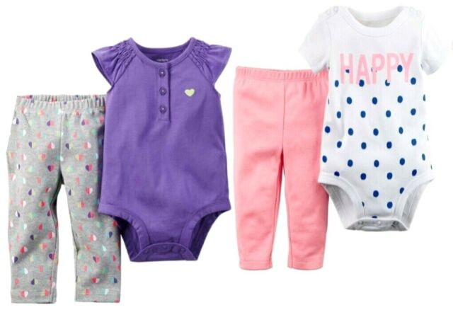 Carter/'s Baby Girls 3 Pc Bodysuits and Pants Set NWT   Newborn    3 Months