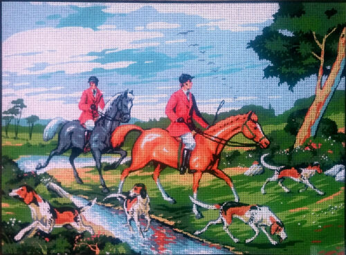 "18/""x24/"" Gobelin D496 Hunting. Needlepoint tapestry painted canvas"