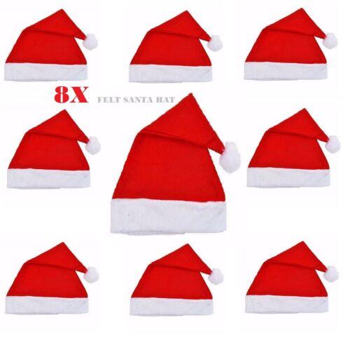 Lot de 8 Rouge Feutre Santa Chapeaux de Noël Santa Claus Costume Accessoire VRAC LOT