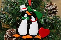 PERSONALISED CHRISTMAS TREE DECORATION ORNAMENT PENGUIN COUPLE RED LOVE HEART