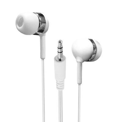 Earbuds Lot Set of 3 Bulk White Extra Long Wire In-Ear Earbuds / Earphones