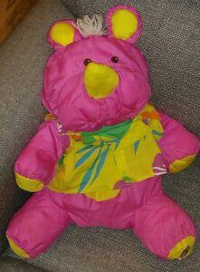 "1987 Fisher-Price Wild Puffalump Rhino Hawaii tourist Shirt Plush Pink 8056 16"""