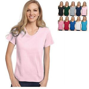 Hanes-Relaxed-Fit-Women-039-s-V-neck-T-Shirt-BUY-TWO-GET-THIRD-ONE-FREE-5780