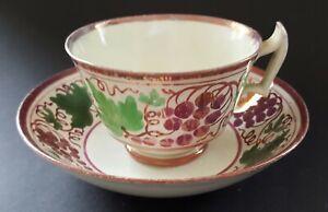 Sunderland-pink-lustre-vintage-Victorian-antique-cup-amp-saucer-duo-C