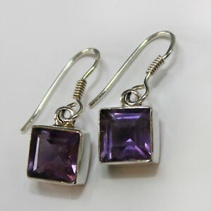 Amethyst-Ohrringe-Silber-925-Ohrhaenger-Lila-Elegant-Quadrat-facettiert-eckig-ts