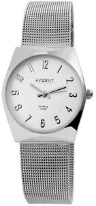 Akzent-Damenuhr-Weiss-Silber-Analog-Meshband-Metall-Armbanduhr-Quarz-D-1300015002