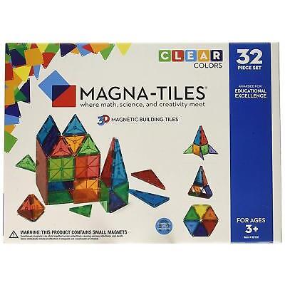 Magna Tiles 32pc Clear Color 3D Magnetic Building Tiles STEM Approved Valtech