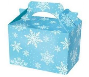 8 Frozen White Snowflake Food Boxes ~ Birthday Party Picnic Carry Meal Box Bag