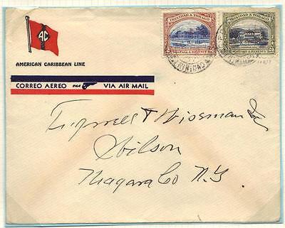 """Großbritannien Kolonien Professioneller Verkauf Trinidad Tobago 1937 Dampfschiff """" American Caribbean Line """" Cvr Frankierte 26 ¢"""
