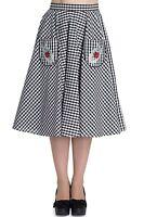 Hell Bunny Ladybird Check Vintage Retro Rockabilly 50s Skirt Pockets Flare Swing