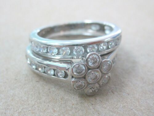 """REAL925 Sterling Silver Cute FLOWER CZ Engagement /& Wedding RING/""""THICK /& STRONG/"""""""