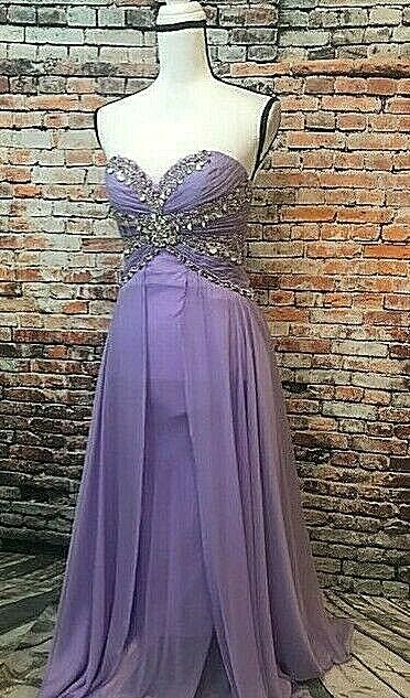 LARA Design Sequin Sequin Sequin Jeweled Strapless Formal Dress, Light Purple, Sz 6 377843