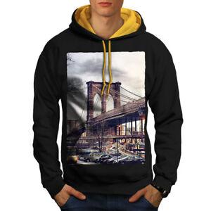 Brooklyn Usa Hood Men Contrast New gold Hoodie Bridge Black rfrwR