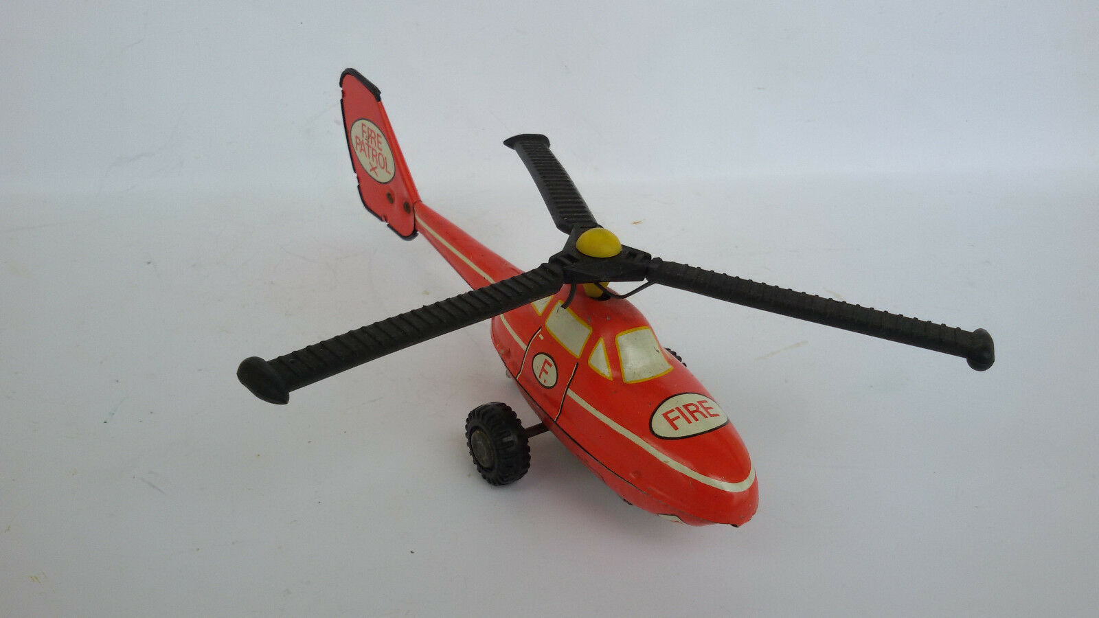 VINTAGE OLD FRICTION TIN TOY AIRCRAFT HELICOPTER FIRE PATROL 1970's