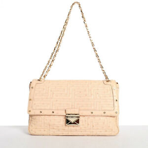 74ae21e1 Details about GIANNI VERSACE COUTURE nude quilted ostrich gold studded  shoulder leather bag