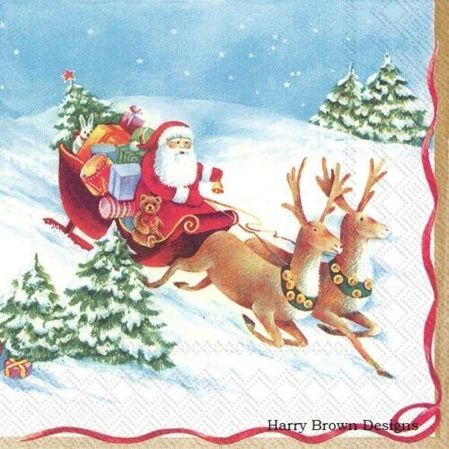 Parties //Weddings 2 Paper Napkins Santa Sleigh Serviettes for Decoupage