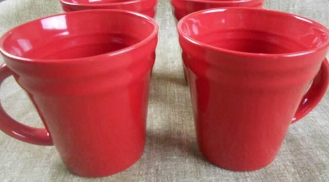4 pc set rachael ray double ridge red bands meyer stoneware coffee