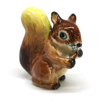 2 Tiny Brown Squirrel Dollhouse Miniature Ceramic Animal Figurines