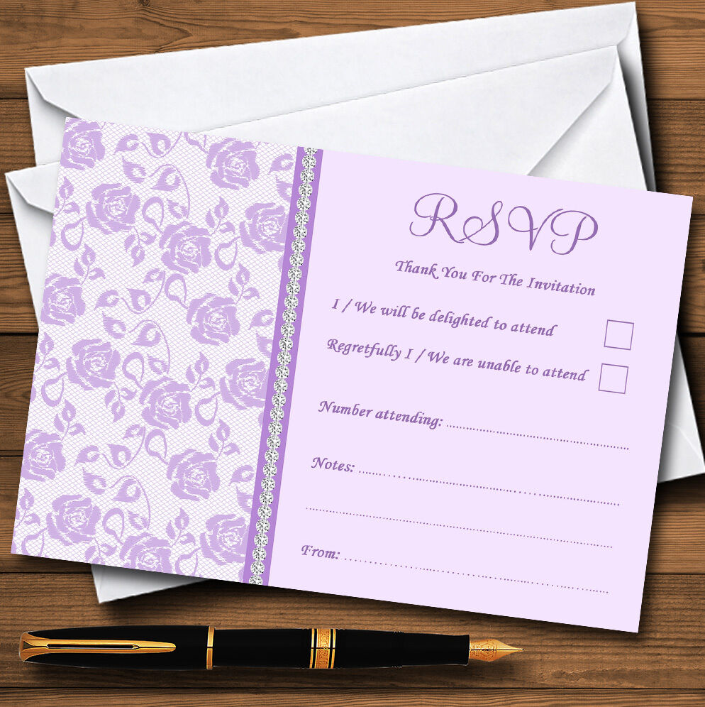 Pretty Lilac lila Floral Diamante Personalised RSVP Cards