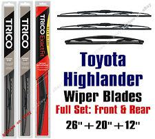 Toyota Highlander 2008-2016 Wiper Blades 3pk Standard Front/Rear 30260/30200/12A