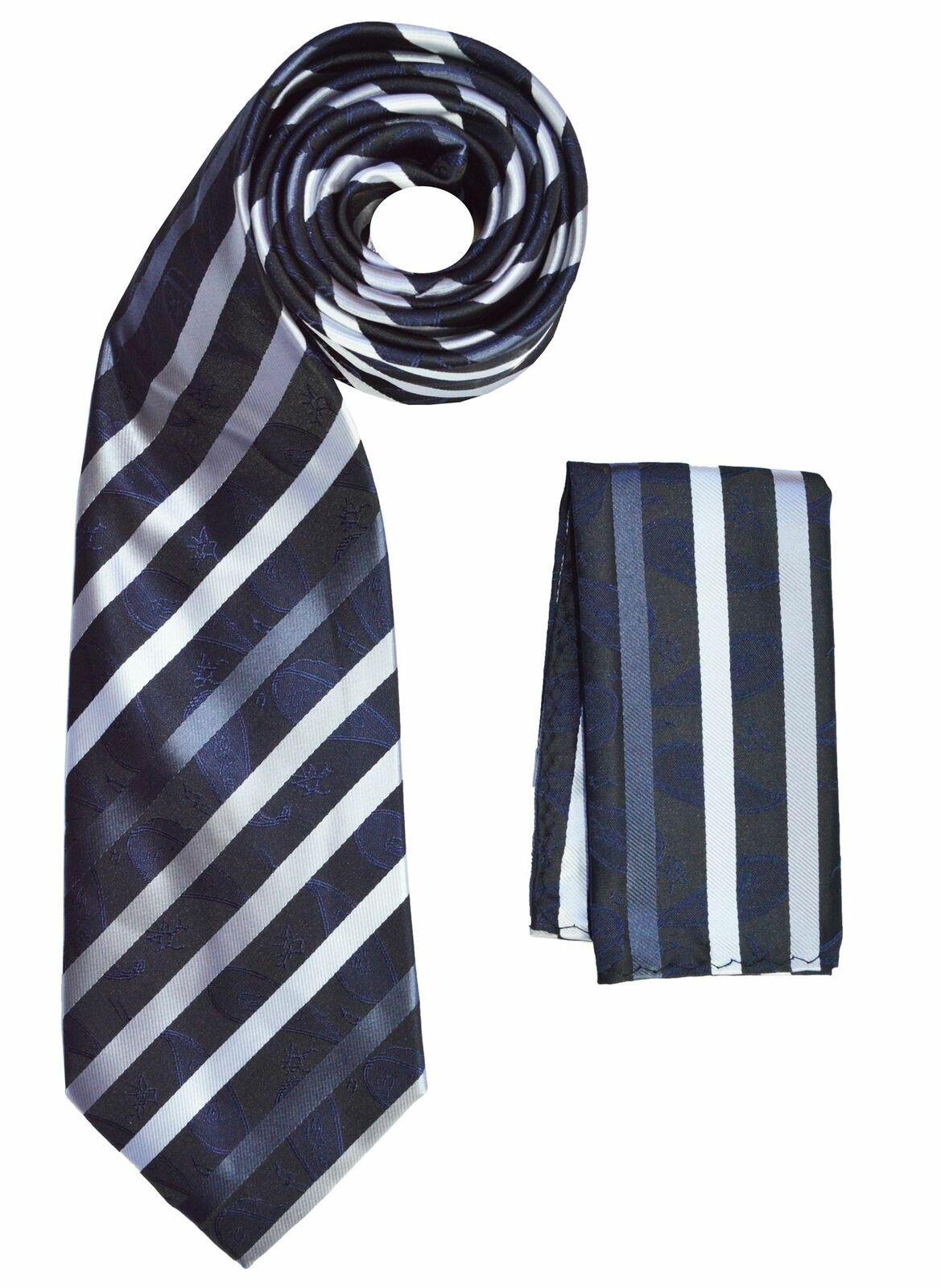 BERLIONI ITALY NECKTIE MATCHING SET FANCY LUXE NECKTIE W/HANKY TIES BLACK