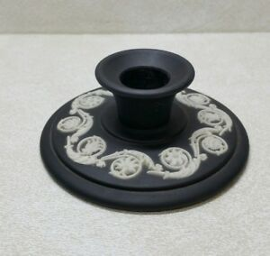 Vintage-Wedgwood-Black-Jasperware-Candle-Holder